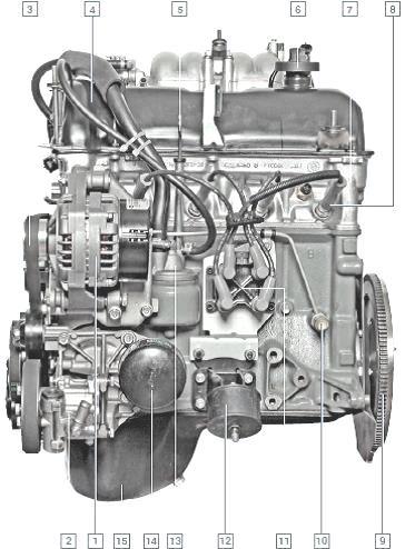Вид на двигатель Шеви Нива